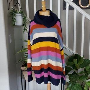 Caslon Stripe Turtle Neck Sweater 2X